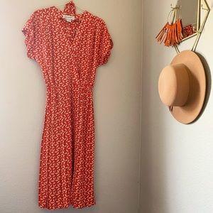 Vintage Silk Leaf Print Dress